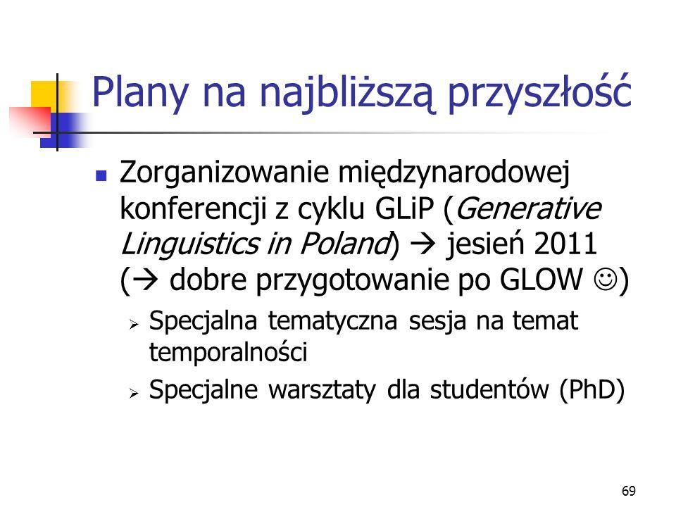 69 Plany na najbliższą przyszłość Zorganizowanie międzynarodowej konferencji z cyklu GLiP (Generative Linguistics in Poland)  jesień 2011 (  dobre p