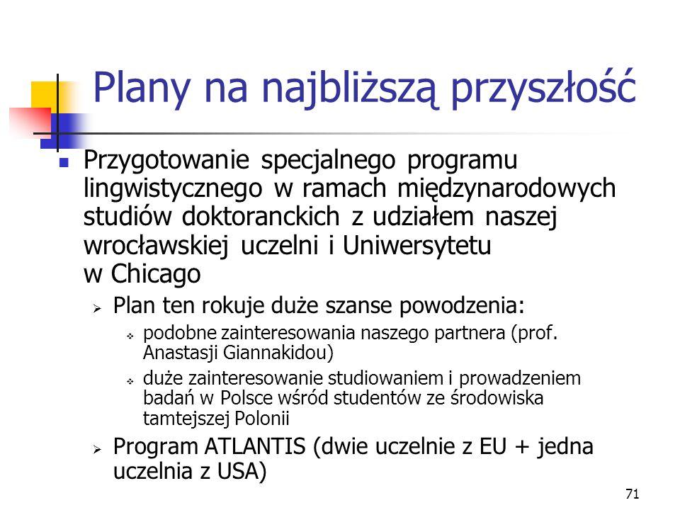 71 Plany na najbliższą przyszłość Przygotowanie specjalnego programu lingwistycznego w ramach międzynarodowych studiów doktoranckich z udziałem naszej