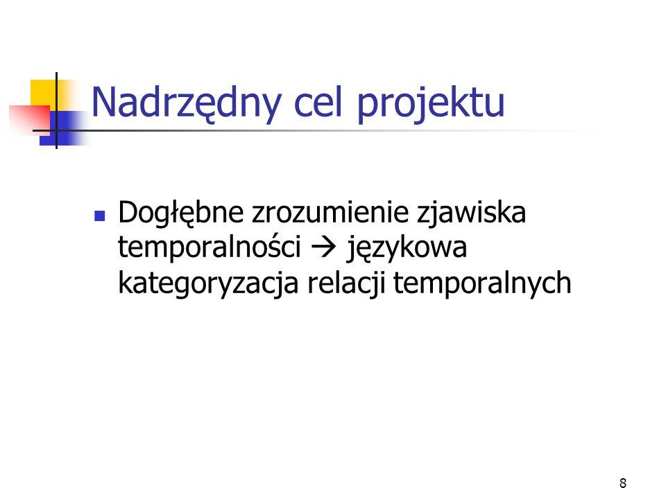 8 Nadrzędny cel projektu Dogłębne zrozumienie zjawiska temporalności  językowa kategoryzacja relacji temporalnych