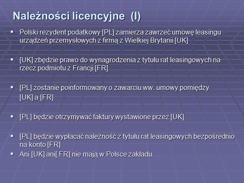 Należności licencyjne (I)  Polski rezydent podatkowy [PL] zamierza zawrzeć umowę leasingu urządzeń przemysłowych z firmą z Wielkiej Brytanii [UK]  [