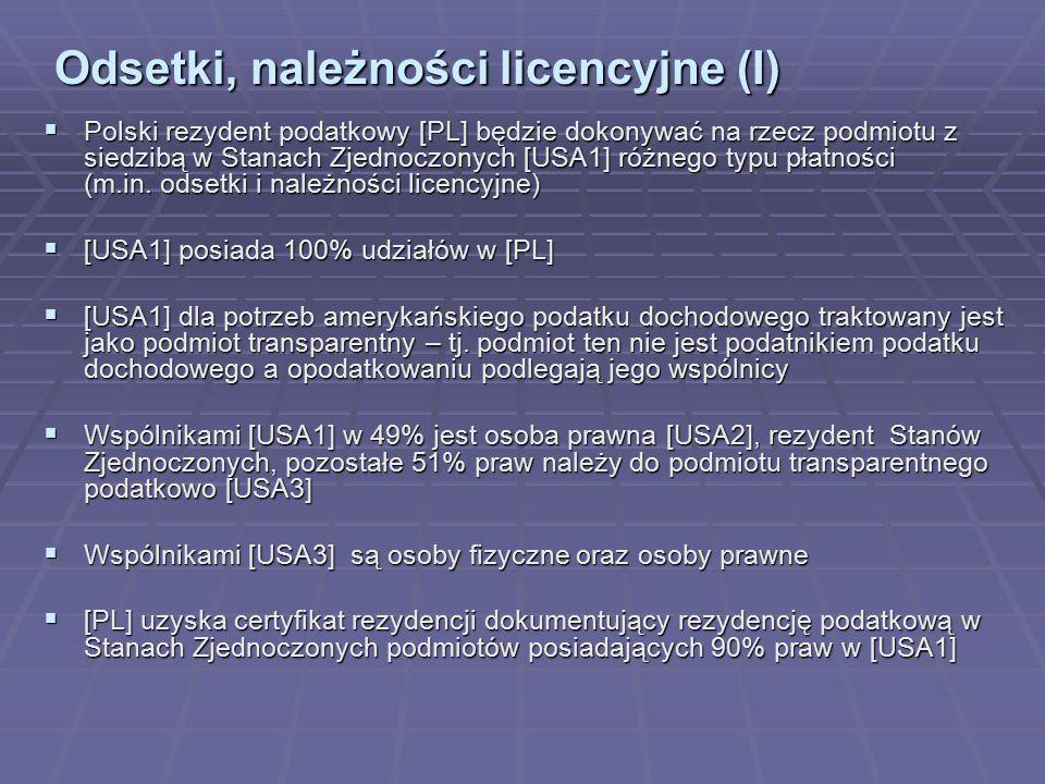 Odsetki, należności licencyjne (I)  Polski rezydent podatkowy [PL] będzie dokonywać na rzecz podmiotu z siedzibą w Stanach Zjednoczonych [USA1] różne