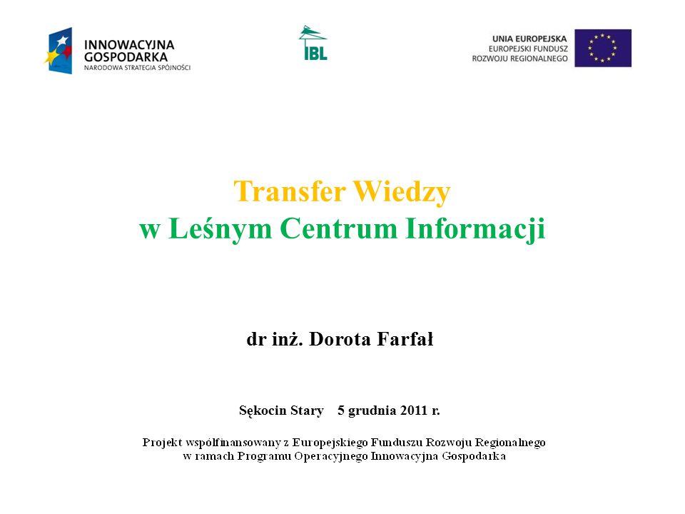 Transfer Wiedzy w Leśnym Centrum Informacji dr inż. Dorota Farfał Sękocin Stary 5 grudnia 2011 r.