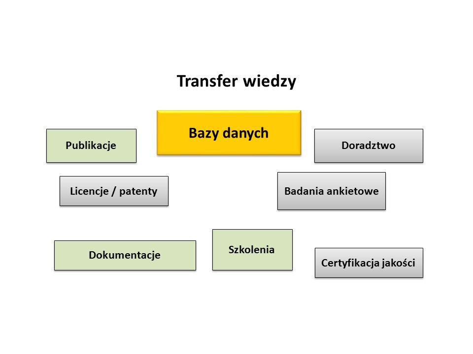 Transfer wiedzy Licencje / patenty Dokumentacje Doradztwo Badania ankietowe Certyfikacja jakości Publikacje Bazy danych Szkolenia