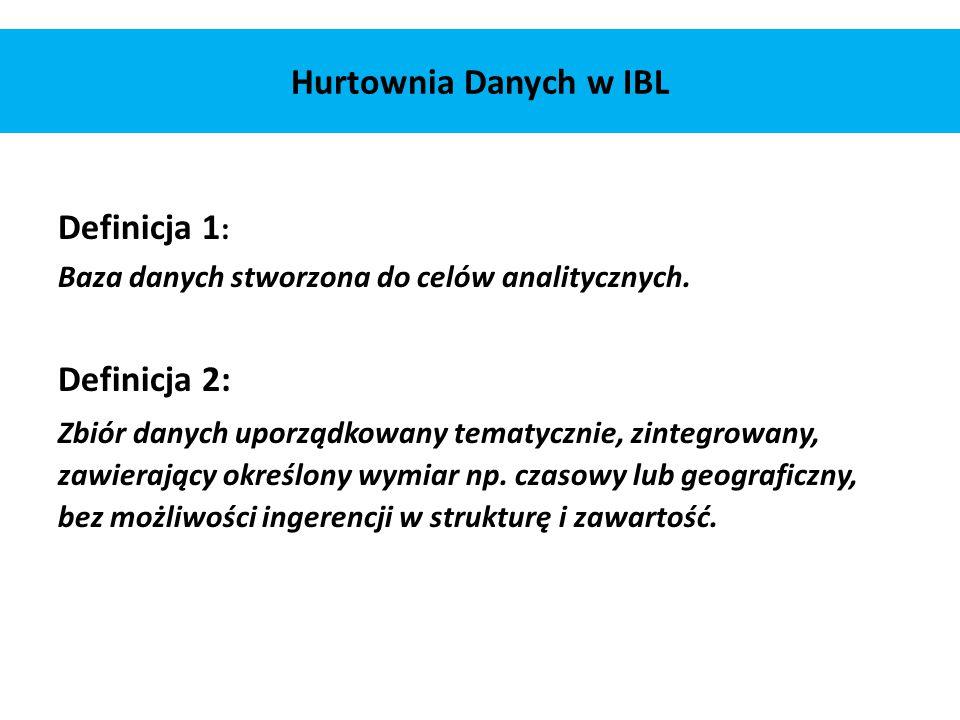 Hurtownia Danych w IBL Definicja 1 : Baza danych stworzona do celów analitycznych. Definicja 2: Zbiór danych uporządkowany tematycznie, zintegrowany,
