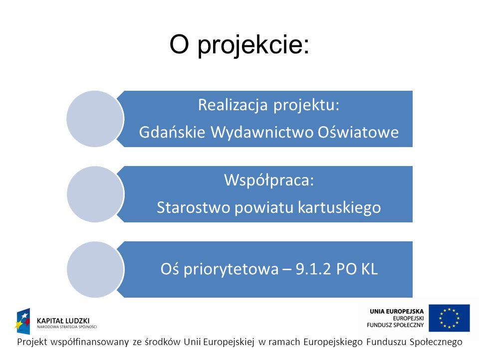 Cele projektu: Wdrożenie innowacyjnej metody nauczania matematyki w 10 gimnazjach powiatu kartuskiego Wzrost umiejętności uczniów Zwiększenie motywacji i przełamanie niechęci uczniów do nauki matematyki Wzrost wyników egzaminów zewnętrznych Przeszkolenie nauczycieli w zakresie obsługi sprzętu multimedialnego Upowszechnienie nowoczesnych metod nauczania z zastosowaniem nowoczesnych narzędzi multimedialnych Projekt współfinansowany ze środków Unii Europejskiej w ramach Europejskiego Funduszu Społecznego