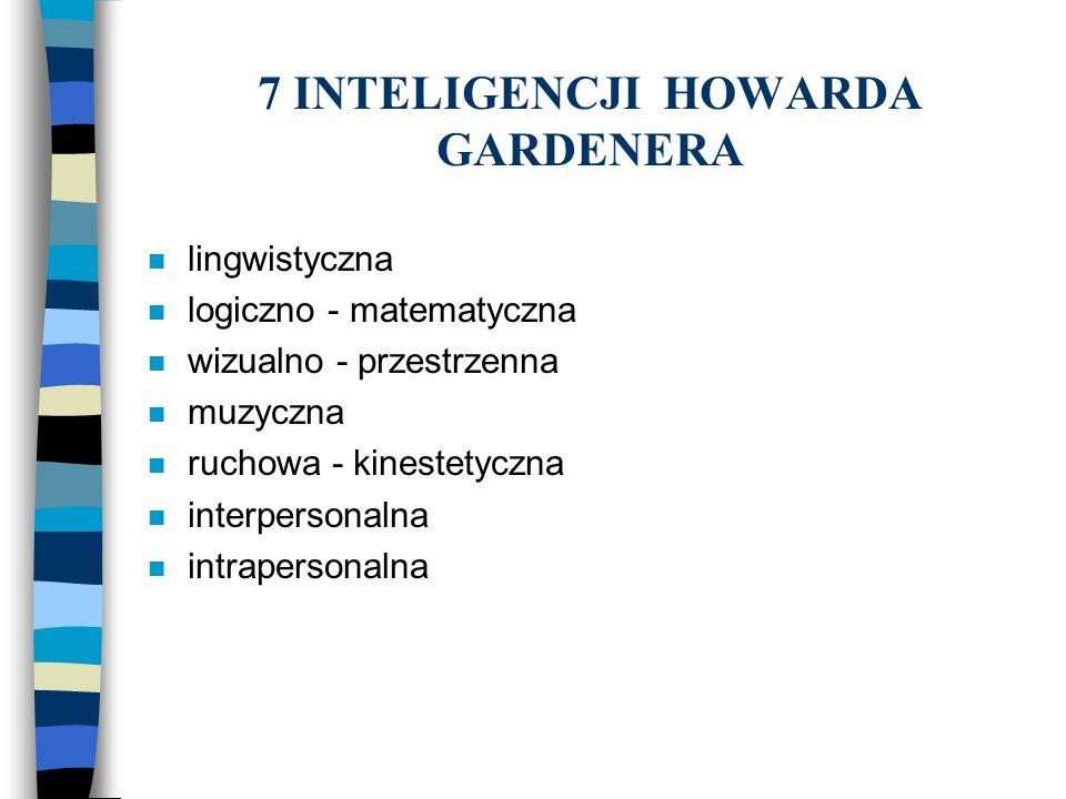 7 INTELIGENCJI HOWARDA GARDENERA n lingwistyczna n logiczno - matematyczna n wizualno - przestrzenna n muzyczna n ruchowa - kinestetyczna n interperso