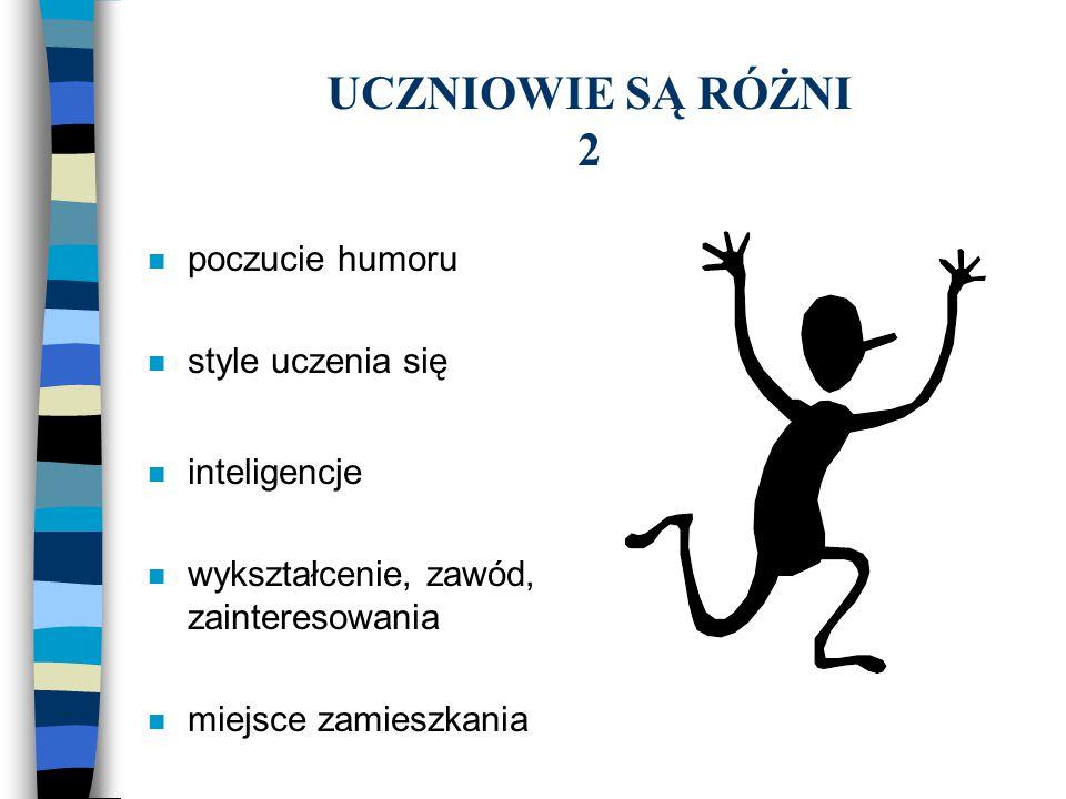 UCZNIOWIE SĄ RÓŻNI 2 n poczucie humoru n style uczenia się n inteligencje n wykształcenie, zawód, zainteresowania n miejsce zamieszkania