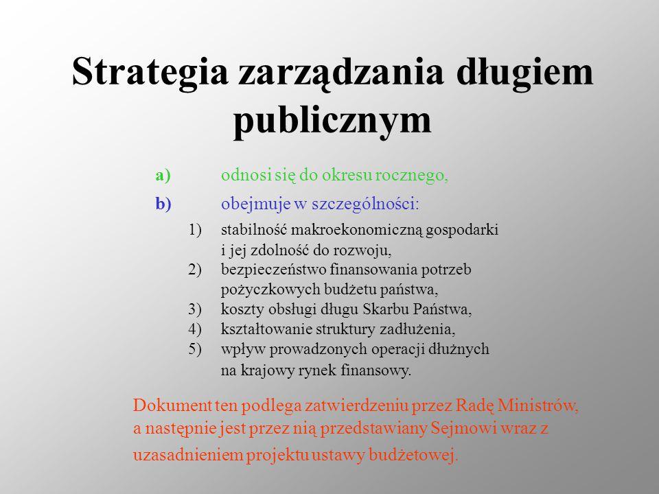 Strategia zarządzania długiem publicznym a)odnosi się do okresu rocznego, b)obejmuje w szczególności: 1)stabilność makroekonomiczną gospodarki i jej zdolność do rozwoju, 2)bezpieczeństwo finansowania potrzeb pożyczkowych budżetu państwa, 3)koszty obsługi długu Skarbu Państwa, 4)kształtowanie struktury zadłużenia, 5)wpływ prowadzonych operacji dłużnych na krajowy rynek finansowy.