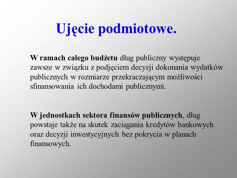 Przyczyny powstawania długu publicznego: 1) uporczywie utrzymujący się deficyt budżetowy, 2) okresy wzmożonych wydatków publicznych, 3) świadomie realizowana polityka utrzymywania deficytu publicznego jako narzędzia interwencjonizmu państwowego, bądź też polityka utrzymywania na tym samym poziomie dochodów publicznych i wydatków publicznych, nie znajdujących pokrycia w dochodach, 4) wejście władz publicznych w pułapkę zadłużenia.