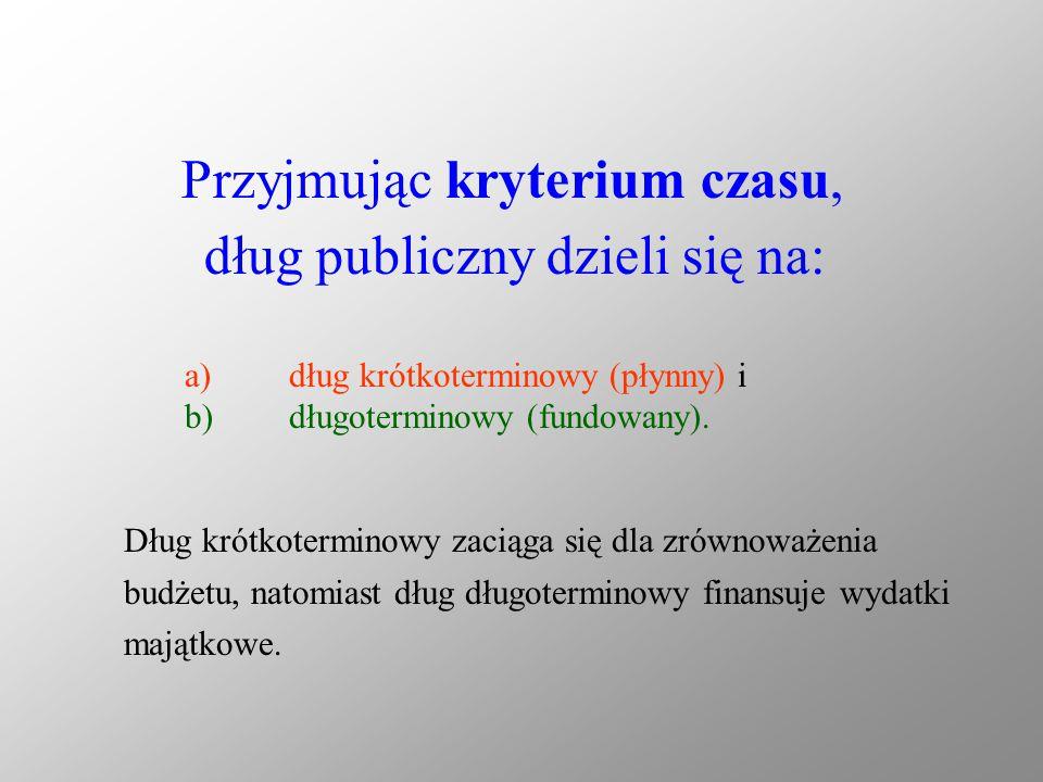 Przyjmując kryterium czasu, dług publiczny dzieli się na: a)dług krótkoterminowy (płynny) i b)długoterminowy (fundowany). Dług krótkoterminowy zaciąga