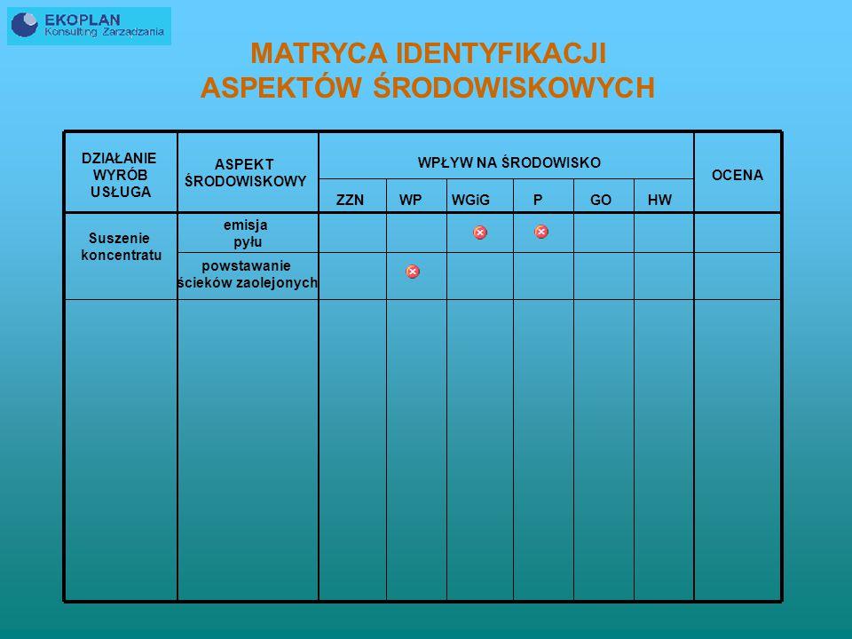PROCES IDENTYFIKACJI ZNACZĄCYCH ASPEKTÓW ŚRODOWISKOWYCH musi być prowadzony na bieżąco; identyfikacji w pierwszej kolejności podlegają nowe lub zmodyfikowane procesy technologiczne, usługi lub wyroby aktualizacja ZAŚ powinna automatycznie pociągać za sobą aktualizację opisów poszczególnych elementów EMS