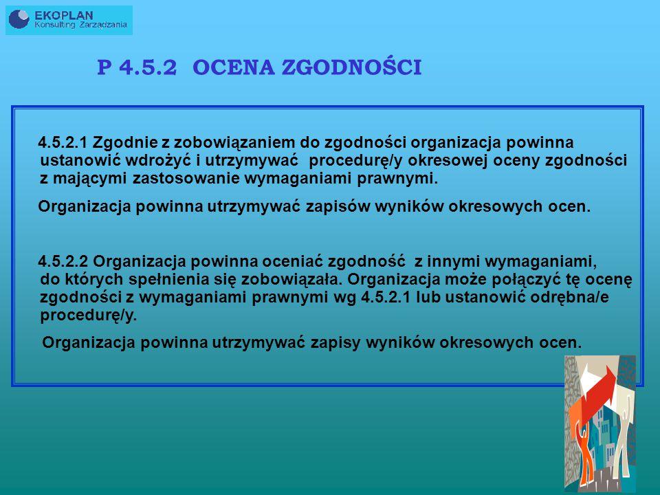 Dokumentowanie zaplanowania poprawy efektów środowiskowych ASPEKTCELEZADANIAPROGRAMYWSKAŹNIKISTEROWANIE OPERACYJNE MONITOROWANIE I POMIARY PN-ISO 14004:2005 Aspekt Zużycie oleju opałowego Cele Zmniejszenie zużycia zasobów nieodnawialnych Zadania Zmniejszenie zużycia oleju opalowego o 20% w ciągu roku (w stosunku do zużycia w bieżącym roku) Programy Zainstalowanie wydajniejszych palników Wskaźniki Zużycie oleju opałowego na godzinę pracy kotła Sterowanie operacyjne Procedury dokumentowania i zapisywania zużycia oleju Monitorowanie i pomiary Kwartalna ocena postępu realizacji planu przedsięwzięcia; comiesięczne śledzenie wielkości zużycia oleju