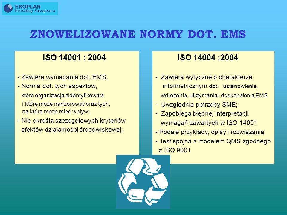 NORMA ISO 14001:2004 KOŃCOWY PROJEKT NORMY 15.11.2004 20.12.2004 Tłumaczenie 15.05.2005 14001: 2004 15.05.2006