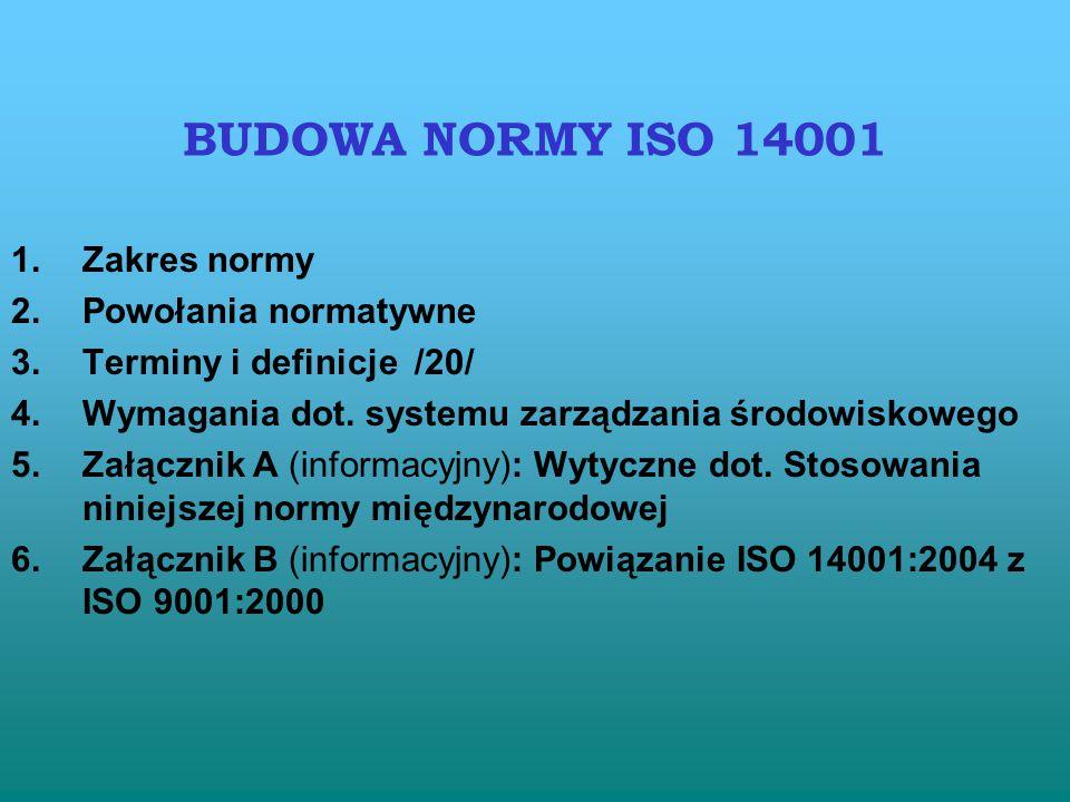 ISO 14001 : 2004 - Zawiera wymagania dot. EMS; - Norma dot. tych aspektów, które organizacja zidentyfikowała i które może nadzorować oraz tych, na któ