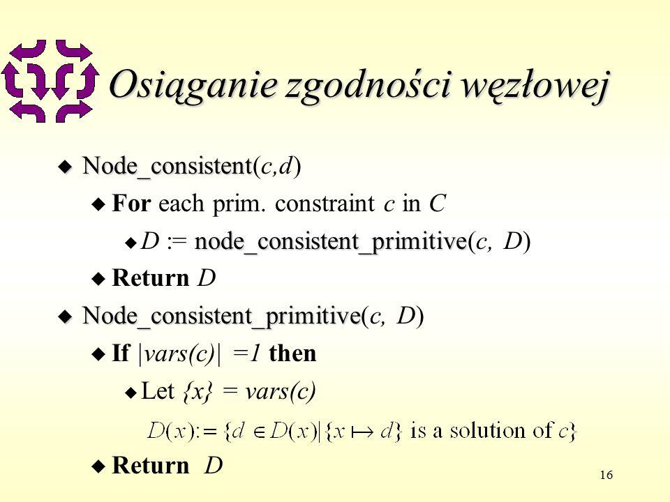 16 Osiąganie zgodności węzłowej u Node_consistent u Node_consistent(c,d) u For each prim.