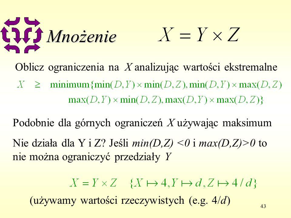 43 Mnożenie Oblicz ograniczenia na X analizując wartości ekstremalne Podobnie dla górnych ograniczeń X używając maksimum Nie działa dla Y i Z.