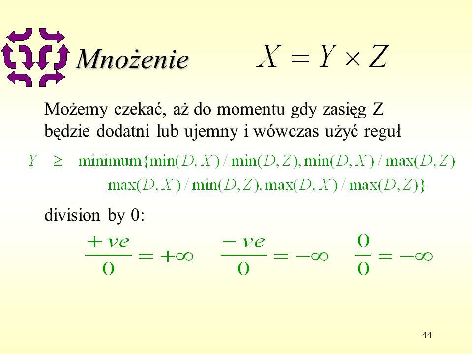 44 Mnożenie Możemy czekać, aż do momentu gdy zasięg Z będzie dodatni lub ujemny i wówczas użyć reguł division by 0: