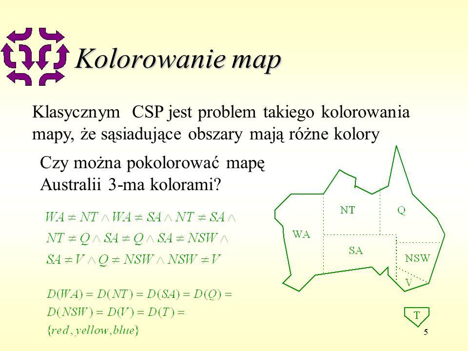 5 Kolorowanie map Klasycznym CSP jest problem takiego kolorowania mapy, że sąsiadujące obszary mają różne kolory Czy można pokolorować mapę Australii 3-ma kolorami