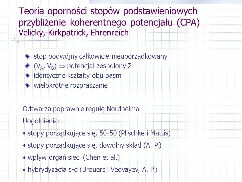 Teoria oporności stopów podstawieniowych przybliżenie koherentnego potencjału (CPA) Velicky, Kirkpatrick, Ehrenreich stop podwójny całkowicie nieuporządkowany (V A, V B )  potencjał zespolony Σ identyczne kształty obu pasm wielokrotne rozpraszanie Odtwarza poprawnie regułę Nordheima Uogólnienia: stopy porządkujące się, 50-50 (Plischke i Mattis) stopy porządkujące się, dowolny skład (A.