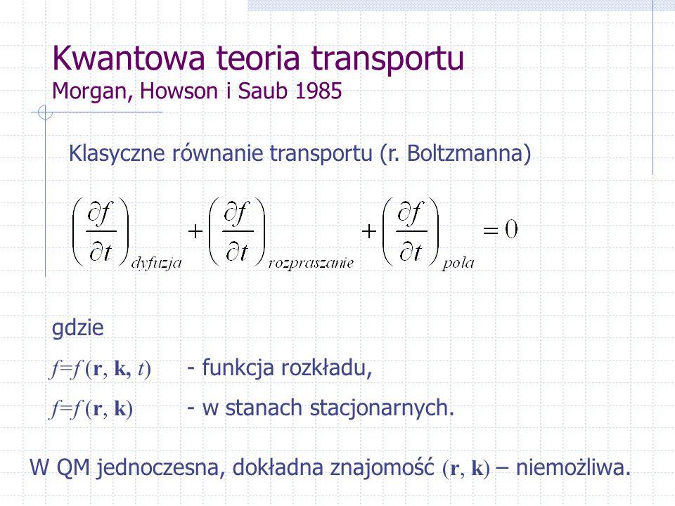 Kwantowa teoria transportu Morgan, Howson i Saub 1985 Klasyczne równanie transportu (r.