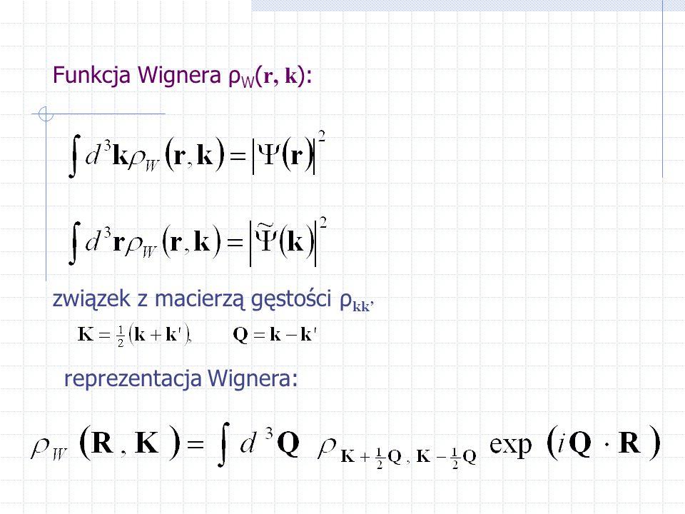 Funkcja Wignera ρ W ( r, k ): związek z macierzą gęstości ρ kk' reprezentacja Wignera: