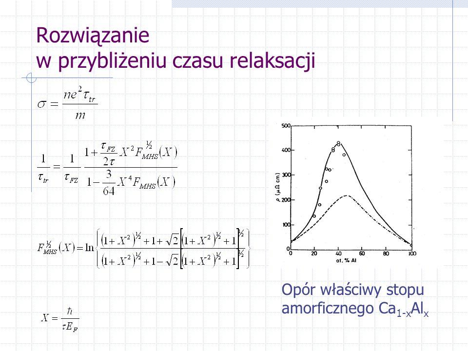 Rozwiązanie w przybliżeniu czasu relaksacji Opór właściwy stopu amorficznego Ca 1-x Al x