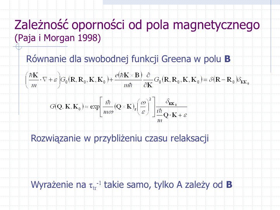 Zależność oporności od pola magnetycznego (Paja i Morgan 1998) Równanie dla swobodnej funkcji Greena w polu B Rozwiązanie w przybliżeniu czasu relaksacji Wyrażenie na τ tr -1 takie samo, tylko A zależy od B