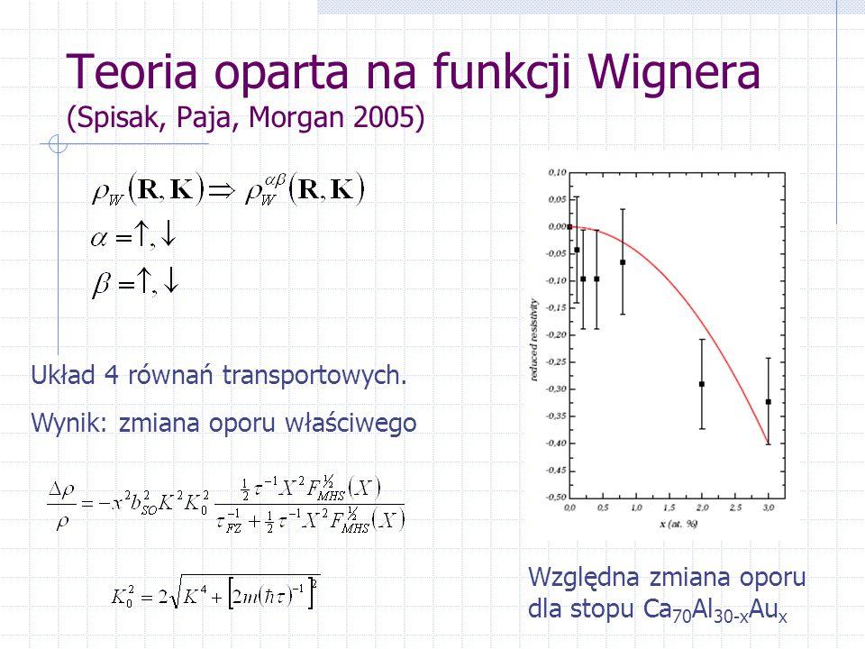 Teoria oparta na funkcji Wignera (Spisak, Paja, Morgan 2005) Układ 4 równań transportowych.