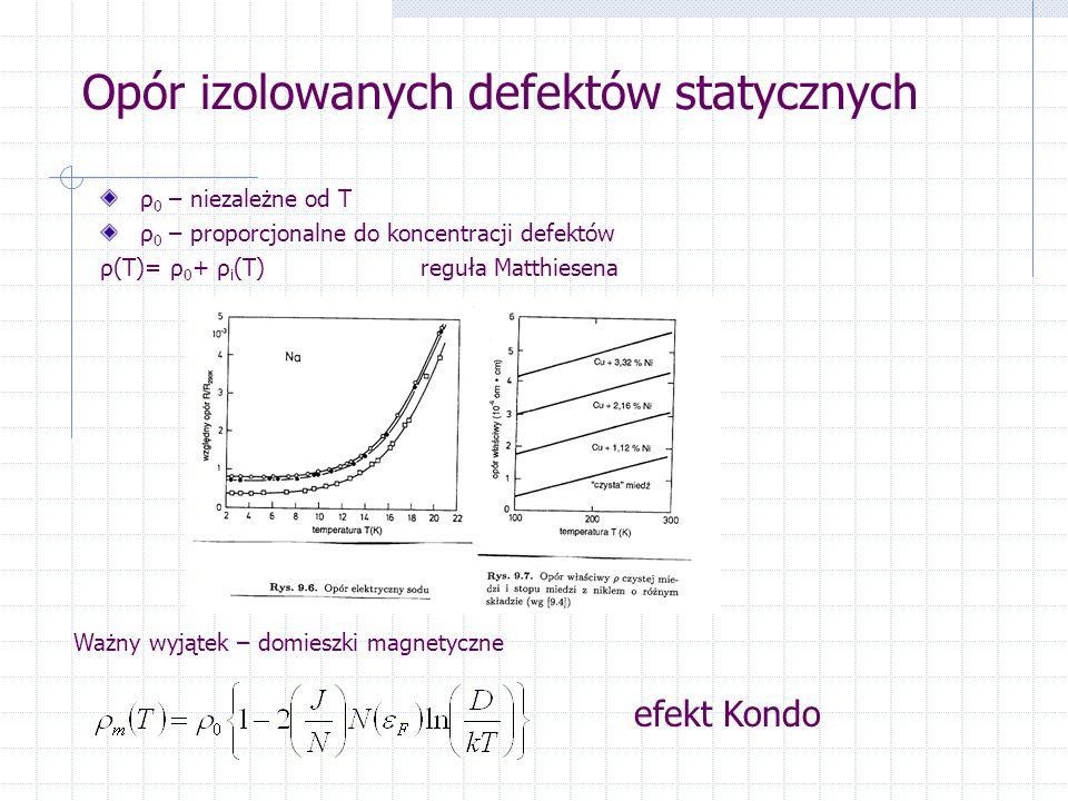 Opór izolowanych defektów statycznych ρ 0 – niezależne od T ρ 0 – proporcjonalne do koncentracji defektów ρ(T)= ρ 0 + ρ i (T)reguła Matthiesena Ważny wyjątek – domieszki magnetyczne efekt Kondo