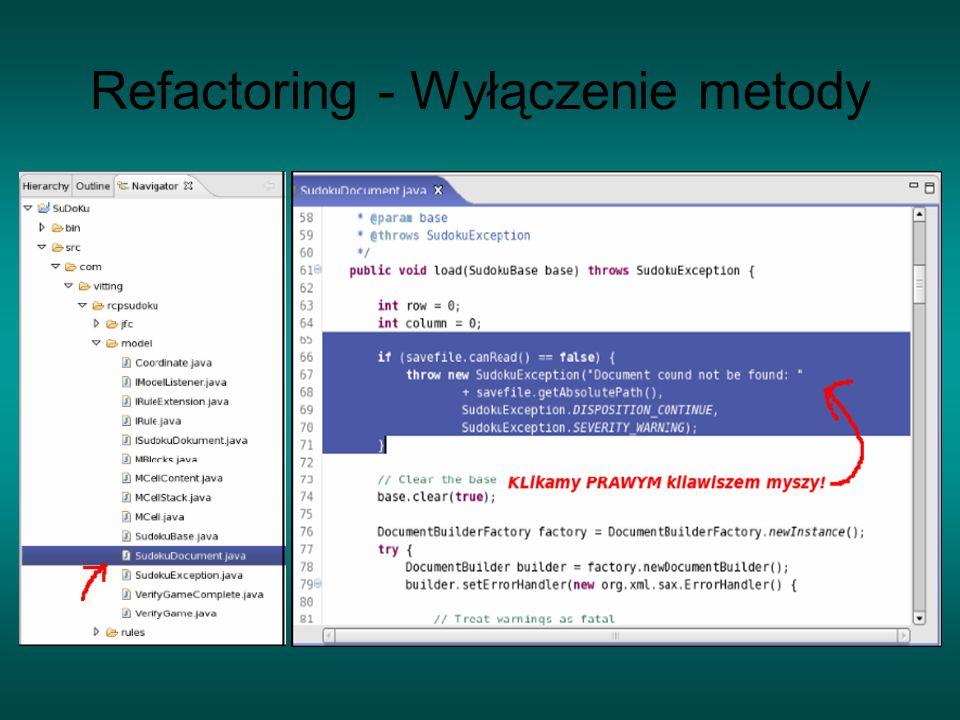 Refactoring - Wyłączenie metody