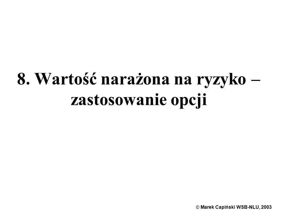 © Marek Capiński WSB-NLU, 2003 1 8. Wartość narażona na ryzyko – zastosowanie opcji