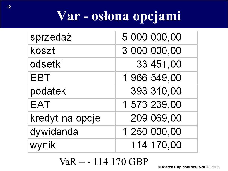 © Marek Capiński WSB-NLU, 2003 12 Var - osłona opcjami VaR = - 114 170 GBP