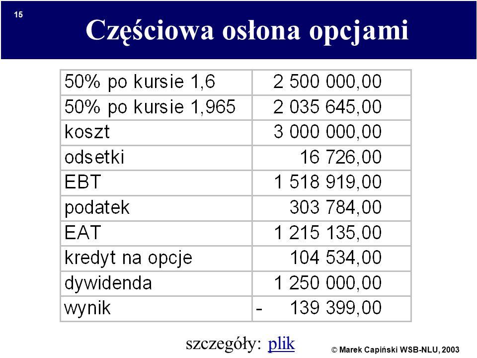© Marek Capiński WSB-NLU, 2003 15 Częściowa osłona opcjami szczegóły: plikplik