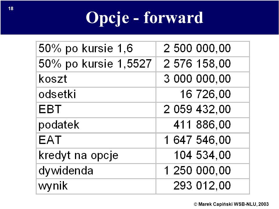 © Marek Capiński WSB-NLU, 2003 18 Opcje - forward