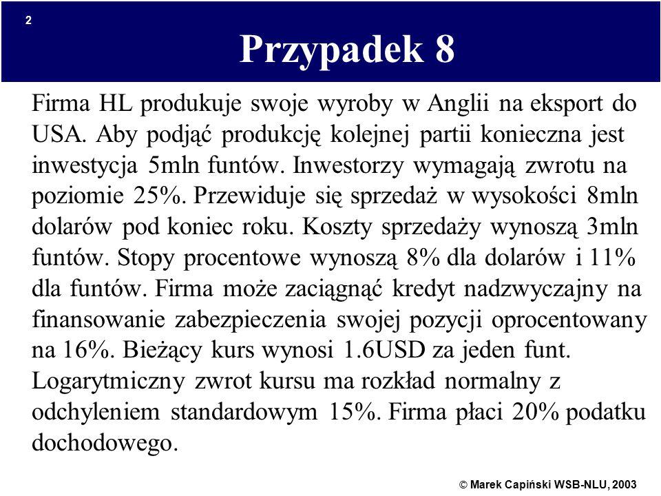 © Marek Capiński WSB-NLU, 2003 2 Przypadek 8 Firma HL produkuje swoje wyroby w Anglii na eksport do USA. Aby podjąć produkcję kolejnej partii konieczn