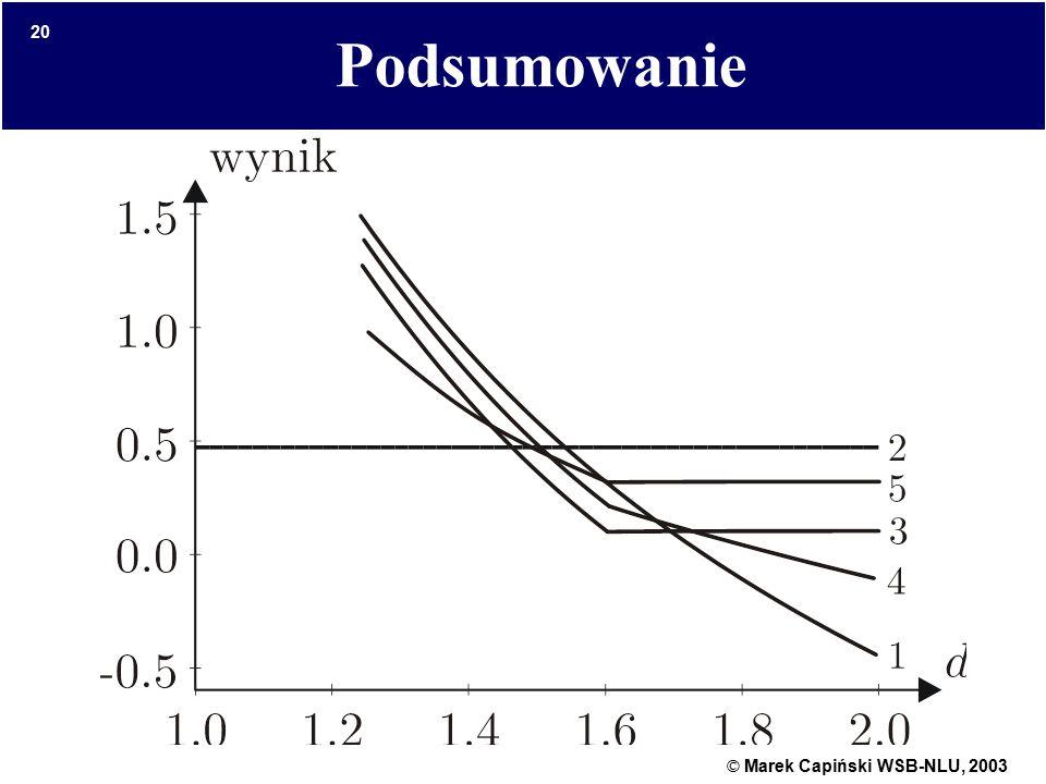 © Marek Capiński WSB-NLU, 2003 20 Podsumowanie