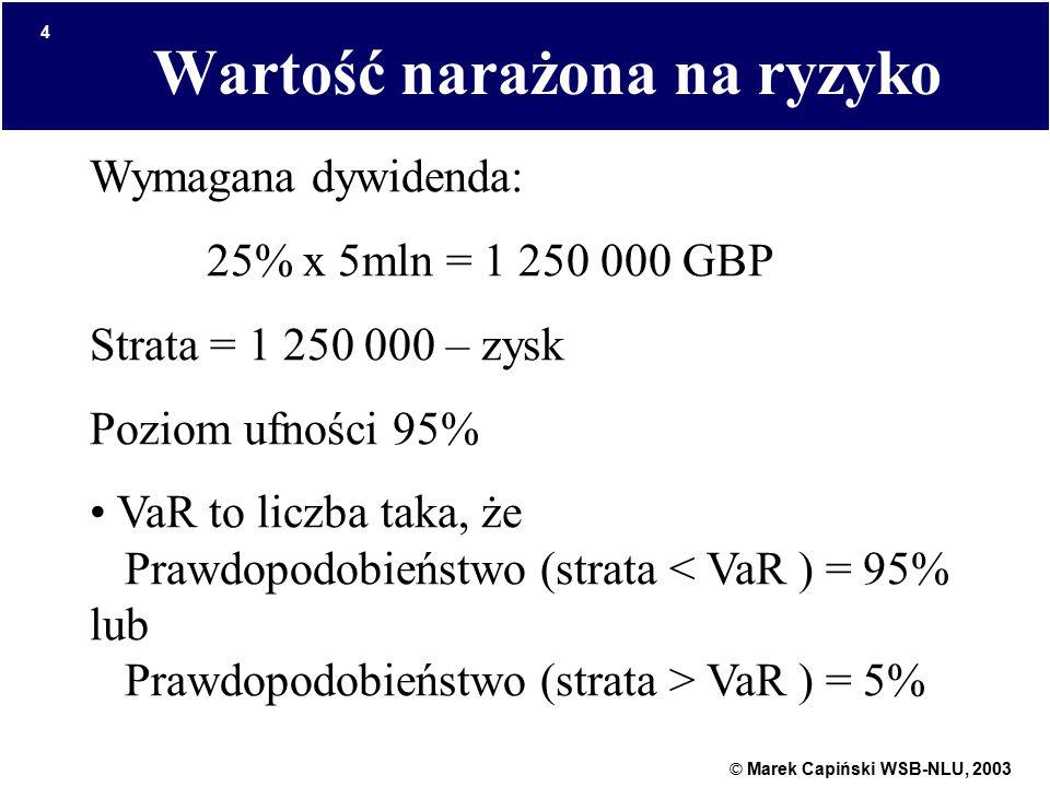 © Marek Capiński WSB-NLU, 2003 4 Wartość narażona na ryzyko Wymagana dywidenda: 25% x 5mln = 1 250 000 GBP Strata = 1 250 000 – zysk Poziom ufności 95% VaR to liczba taka, że Prawdopodobieństwo (strata VaR ) = 5%