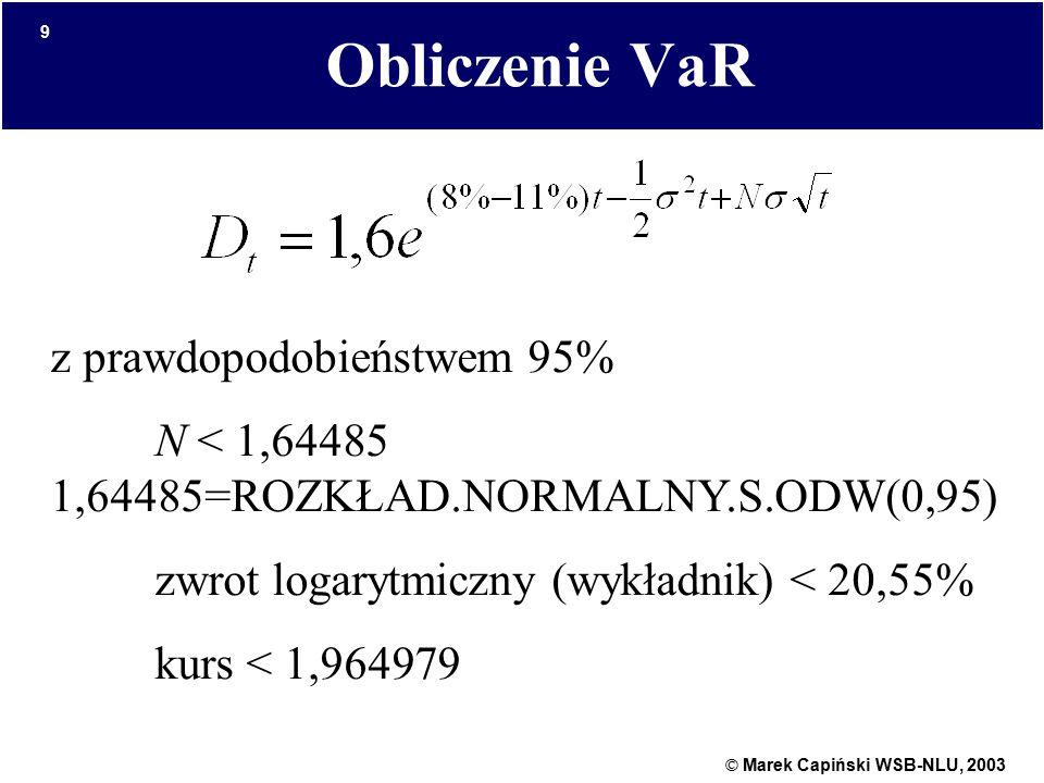 © Marek Capiński WSB-NLU, 2003 9 Obliczenie VaR z prawdopodobieństwem 95% N < 1,64485 1,64485=ROZKŁAD.NORMALNY.S.ODW(0,95) zwrot logarytmiczny (wykładnik) < 20,55% kurs < 1,964979