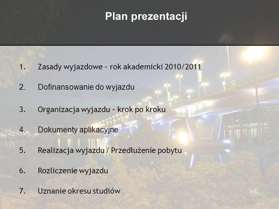 Plan prezentacji 1.Zasady wyjazdowe – rok akademicki 2010/2011 2.Dofinansowanie do wyjazdu 3.Organizacja wyjazdu – krok po kroku 4.Dokumenty aplikacyj