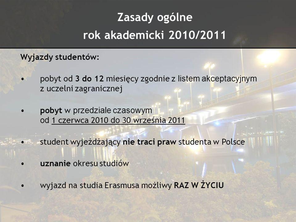 Zasady ogólne rok akademicki 2010/2011 Wyjazdy studentów: pobyt od 3 do 12 miesięcy zgodnie z listem akceptacyjnym z uczelni zagranicznej pobyt w prze