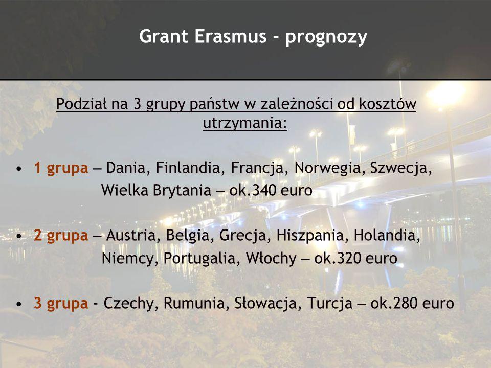 Grant wypłacany na całą długość pobytu zgodnie z umową, maksymalnie na 12 miesięcy Grant jest przelewany na konto w dwóch ratach (ewentualnie trzecia rata dla przedłużających stypendium) Decyzja o wypłacie grantu dla studentów przedłużających pobyt na drugi semestr zostanie podjęta po wpłynięciu wszystkich podań – marzec 2010 Decyzja o wysokości grantu – lipiec 2010 Grant Erasmus - prognozy