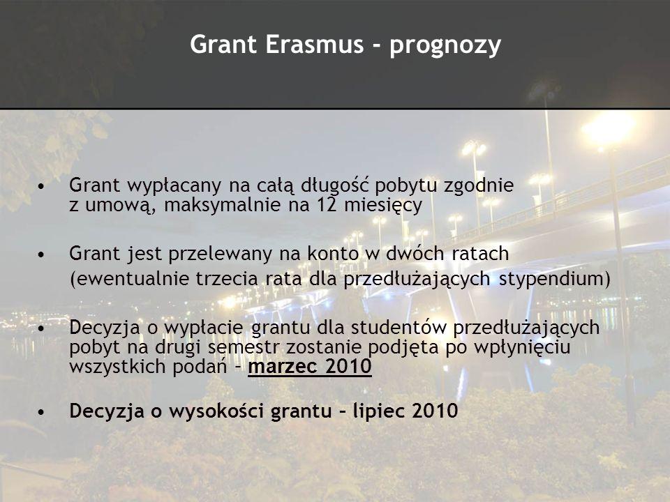 Grant wypłacany na całą długość pobytu zgodnie z umową, maksymalnie na 12 miesięcy Grant jest przelewany na konto w dwóch ratach (ewentualnie trzecia