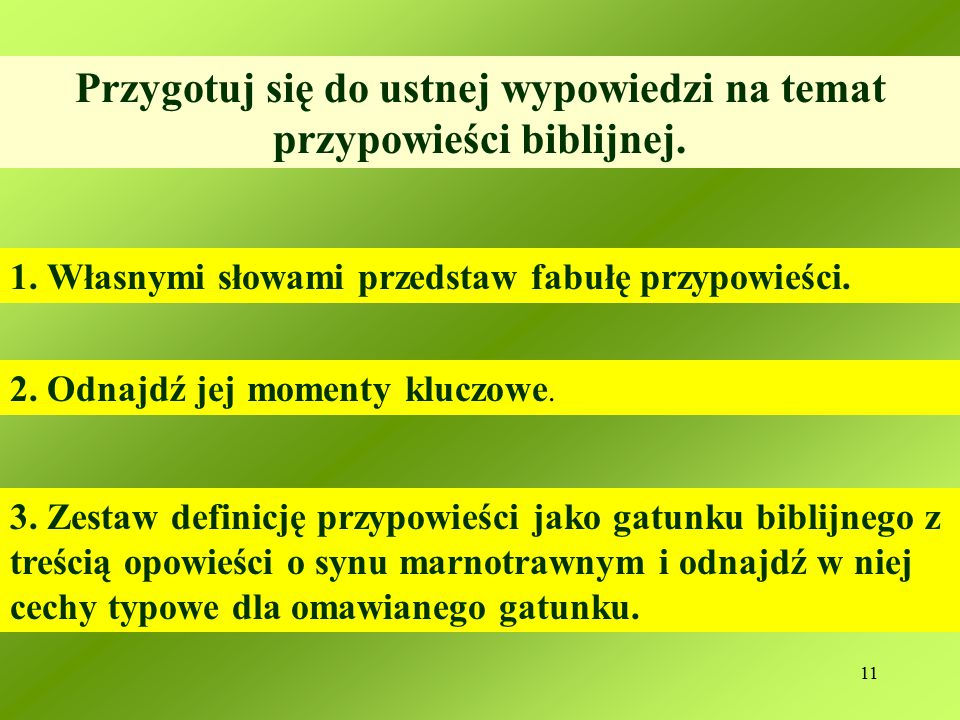 11 Przygotuj się do ustnej wypowiedzi na temat przypowieści biblijnej.