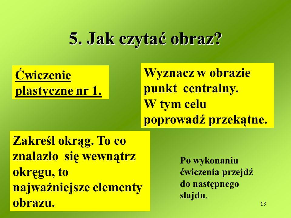 13 5.Jak czytać obraz. Ćwiczenie plastyczne nr 1.