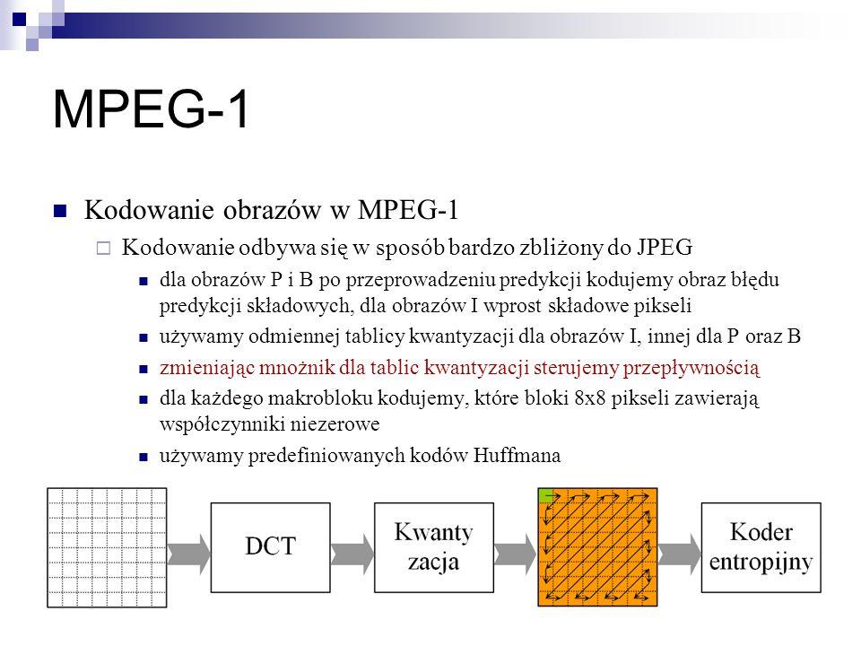 MPEG-1 Kodowanie obrazów w MPEG-1  Kodowanie odbywa się w sposób bardzo zbliżony do JPEG dla obrazów P i B po przeprowadzeniu predykcji kodujemy obraz błędu predykcji składowych, dla obrazów I wprost składowe pikseli używamy odmiennej tablicy kwantyzacji dla obrazów I, innej dla P oraz B zmieniając mnożnik dla tablic kwantyzacji sterujemy przepływnością dla każdego makrobloku kodujemy, które bloki 8x8 pikseli zawierają współczynniki niezerowe używamy predefiniowanych kodów Huffmana