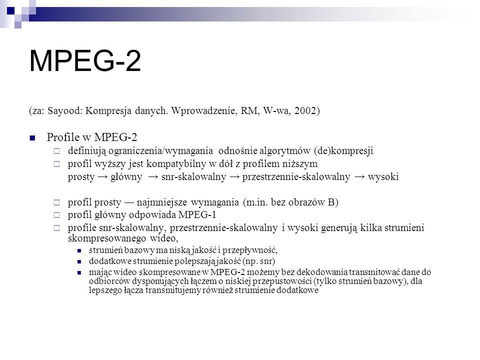 MPEG-2 (za: Sayood: Kompresja danych. Wprowadzenie, RM, W-wa, 2002) Profile w MPEG-2  definiują ograniczenia/wymagania odnośnie algorytmów (de)kompre