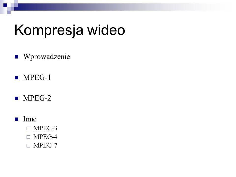 Wprowadzenie MPEG-1 MPEG-2 Inne  MPEG-3  MPEG-4  MPEG-7