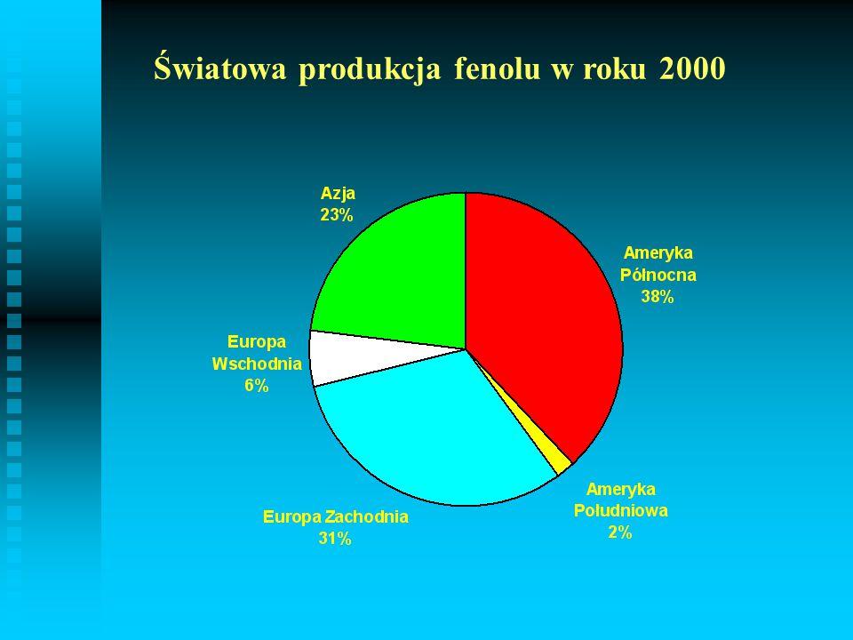 Światowa produkcja fenolu w roku 2000