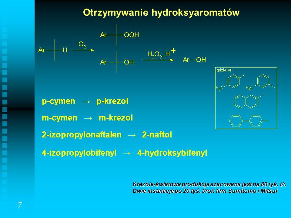 Otrzymywanie hydroksyaromatów Krezole-światowa produkcja szacowana jest na 80 tyś. t/r. Dwie instalacje po 20 tyś. t/rok firm Sumitomo i Mitsui 2-izop