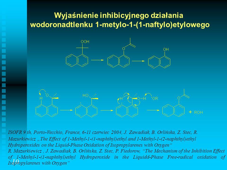Wyjaśnienie inhibicyjnego działania wodoronadtlenku 1-metylo-1-(1-naftylo)etylowego 10 ISOFR 9 th, Porto-Vecchio, France, 6-11 czerwiec 2004, J. Zawad